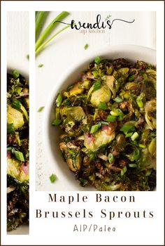 Ridiculously easy, and waaaaay better than the drab veggies we remember! Use a bag of pre-shaved Brussels sprouts, toss with a few ingredients, roast, serve! The end. Health Recipes, Diet Recipes, Recipies, Braised Pork Ribs, Mashed Parsnips, Maple Bacon, Brussels Sprouts, Gut Health, Autoimmune