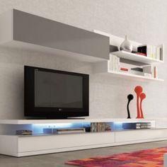 meuble tv blanc laqué mat design nevada | meuble tv | pinterest ... - Meuble Suspendu Salon Design