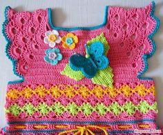 Crochet Rainbow Ruffles Dress with Free Pattern