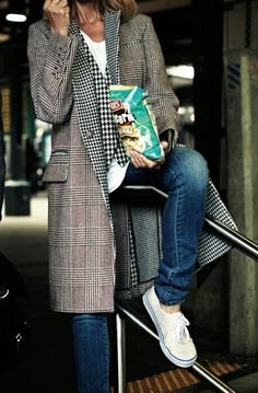 Tee/vest/jacket/jeans/sneaks...I love this coat & look!!