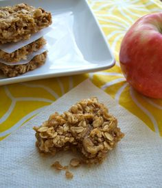 Apple peanut butter snack bars:  no flour, no oil, and no refined sugar.  I'm going to make these right now- no joke!