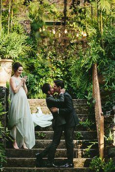 A Greenery-Filled Hawaiian Wedding in a Historic Sugar Mill Wedding Groom, Wedding Suits, Lgbt Wedding, Vogue Wedding, Romantic Wedding Photos, Ceremony Seating, Tropical, Maui Weddings, Green Weddings