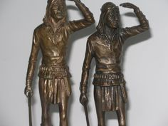 Native American Bronze Statues Apache Scout Figures Signed P. Kraczkowski Sculptor Near pair of American Indian Statues Antique Bronze