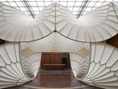 A History of Aviation - installation by David Henderson (LGB Amazing Architecture, Interior Architecture, Pretty Cool, Paper Art, Aviation, Furniture Design, Table Lamp, Ceiling Lights, Sculpture