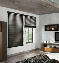 Premium 1 and 2 Wood Blinds for a designer look at a fraction of the price! Available in a range of updated and classic painted and stained colors, these blinds will coordinate with your trim, furniture or flooring. Wooden Window Blinds, Wood Windows, Wood Blinds, Blinds For Windows, Curtains With Blinds, Casement Windows, Window Coverings, Window Treatments, Black Blinds