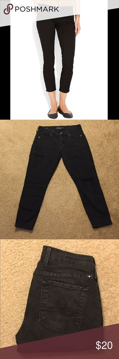 Lucky Brand Sofia Skimmer Black Ankle Jean This is a gently used pair of black ankle jeans in great condition! They are 63% cotton, 35% rayon, and 2% rayon so they are slightly stretchy. Lucky Brand Jeans Ankle & Cropped