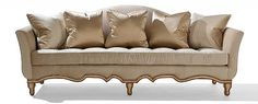 Borghese II Sofa by Ebanista. Hand-carved sofa with scrolling base and legs. Weathered ivory finish with antiqued and distressed 22k gold detailing. Tufted bench seat cushion, decorative tape along base. Discover more at http://ebanista.com