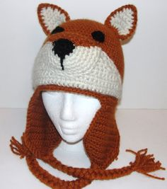 Crochet Pattern for Fox Hat with Earflaps Child and Adult Sizes. $5.00, via Etsy.