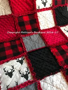 d89fedd3c04 Rustic Lodge Woodland Buffalo Plaid Deer Red   Black Baby Crib Toddler  Throw Twin Choose Your Size R