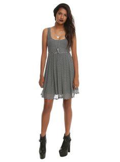 Black  White Stripe Mesh Dress | Hot Topic