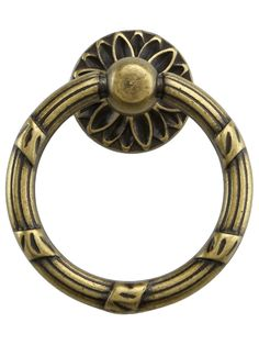 Ribbon and Reed Ring Pull With Flower Motif | House of Antique Hardware