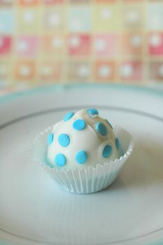 Blue polka dot Cupcake Cake Bite - 12 Pieces, One Dozen - Edible Favor, Wedding, Baby Showers, Birthdays, Edible Gift by Crumbtastic on Gourmly