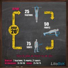 Entraînement de #CrossFit au poids du corps du 05/02 en 20 minutes : tractions, pompes et squats ! plus d'info http://www.litobox.com/wod-05-02-2014