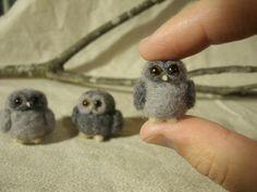 Items similar to Three Tiny Needle Felted Owls, Felt Owl Art Doll, Owl Figurine on Etsy Felt Owls, Felt Birds, Felt Animals, Felt Diy, Felt Crafts, Diy Crafts, Needle Felted Owl, Needle Felting Tutorials, Owl Art
