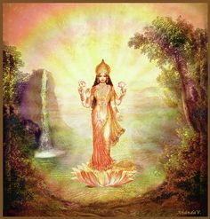 Lakshmi with the Waterfall Art Print by Ananda Vdovic. All prints are professionally printed, packaged, and shipped within 3 - 4 business days. Divine Mother, Mother Goddess, Lord Ganesha Paintings, Lakshmi Images, Lord Shiva Family, Krishna Art, Hare Krishna, Goddess Lakshmi, Hindu Deities