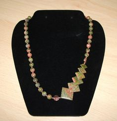 Unakite and Copper Necklace OOAK by InspiredByKarma on Etsy, $35.00