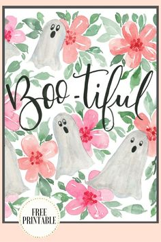 Get this free printable Halloween ghost print in silver, pink and green watercolors. You are Boo-tiful!
