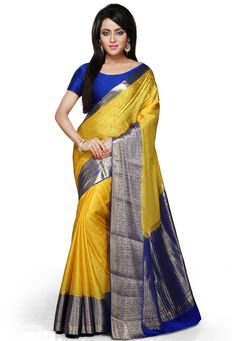 Yellow and Blue Pure Mysore Silk Saree with Blouse: SHU245