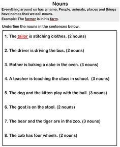 Nouns Worksheets - esl-efl Worksheets - grade-1 Worksheets