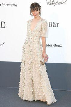Milla Jovovich in Valentino Couture. AMFAR's 20th Cinema Against AIDS Event in Cannes.