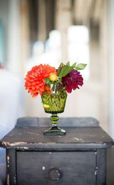 bright flower arrangement in glassware