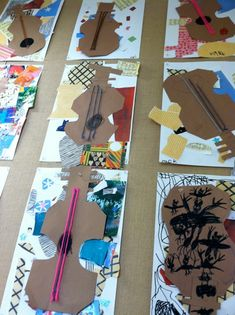 Kindergarten Picasso Inspired Guitar Collages
