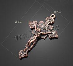 Pendentifs croix en alliage de zinc , Crucifix, Plaqué de couleur de cuivre antique,  plomb et cadmium, 30.70x47.60mm, Trou:Environ 1-3mm
