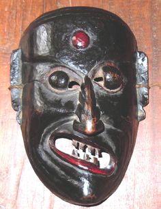 Fantanstic Rare Vintage Nepal Tibet Himalayan Shaman Carved Polychrome Mask 19th