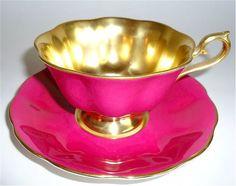Vintage royal albert bone china tea cup saucer magenta pink gold teacup england