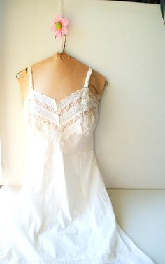 wedding vintage 50s crisp white cotton blend slip dress by VezaVe