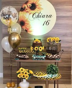 49 Great Party Decor Inspirations for Teenage Girls Sunflower Birthday Parties, Country Birthday Party, Sunflower Party, Sunflower Baby Showers, Balloon Decorations, Birthday Decorations, Yellow Party Decorations, 16th Birthday, Girl Birthday