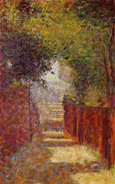 "artist-seurat: "" Rue St. Vincent in Spring by Georges Seurat Size: 24.8x15.4 cm Medium: oil on wood"""
