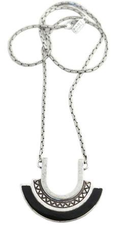 Pamela Love Silver Onyx Halo Necklace
