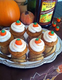 Bake It With Booze!: Pumpkin Spice Cupcakes with Buttered Rum Frosting