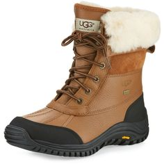 Ugg Adirondack II Leather Hiker Boot ($225) ❤ liked on Polyvore featuring shoes, boots, lace up boots, leather lace up boots, waterproof shoes, real leather boots and round toe flats