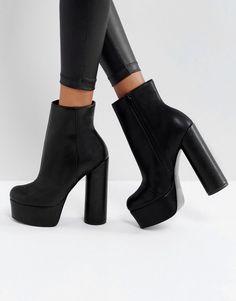 e9b8f378637b ASOS ELECTRIFYING Platform Ankle Boots - Black Sock Shoes