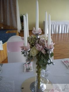 candelabra with hydrangea and roses