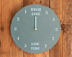 Tide Clock Dark Blue Painted Driftwood Wooden by ReclaimedTime