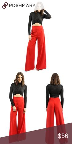 RED HIGH WAISTED WIDE LEG PANTS Feel extravagant without even trying in our Rozet Red wide-leg pant matched with a peplum or fitting crop top and who knows what the city might bring - for the night scene go for a good comfortable pump paired with a black clutch  Red High-waisted Wide-leg flared Back zip-closure 88% Polyester 12% Spandex Style Link Miami Pants Wide Leg