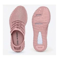 Yeezy Boost 350 All Pink Women Sneakers ❤ liked on Polyvore featuring shoes, sneakers, pink shoes, pink trainers and pink sneakers