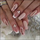 89 Bestes Design für Hochzeitsnägel 2019 Page 30 – Nageldesigns, You can collect images you discovered organize them, add your own ideas to your collections and share with other people. Cute Acrylic Nails, Cute Nails, Pretty Nails, My Nails, Dark Nails, Best Nails, Nail Art With Glitter, Nail Designs With Glitter, Nail Designs Bling