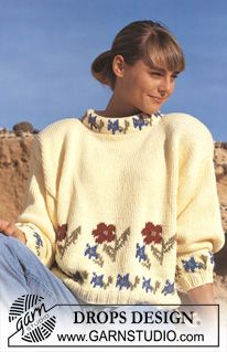 "DROPS jumper with flower borders in ""Paris"". ~ DROPS Design"