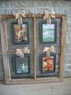 New way to tie pictures to the window frame frames! :) Window photo holder , an old 4 pane window now holds 4 picture frames for a unique, clever display! 4 Picture Frame, Window Picture, Old Window Frames, Window Panes, Window Frame Ideas, Hanging Frames, Window Art, Wood Crafts, Diy Crafts