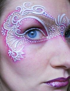 Face Painted Mask by Lisa Marshall Mask Face Paint, Face Paint Makeup, Face Painting Supplies, Face Painting Designs, Costume Makeup, Party Makeup, Adult Face Painting, Face Lace, Halloween Eye Makeup