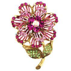 Pink Swarovski Crystal Flower Pin Brooch And Pendant - Fantasyard Costume Jewelry & Accessories