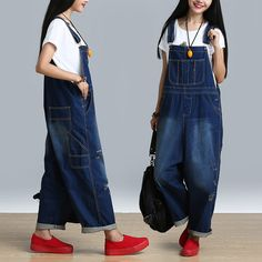Women's Casual Loose Jumpsuit Romper Denim Overall . style at www.buykud.com