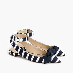 J. Crew | Ankle-strap pointed-toe flats in navy-and-white striped canvas, with grosgrain bows on the pointed toes, gold-tone-buckled ankle straps and low self-covered block heels | from JCrew.com | April 2018