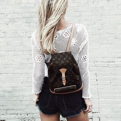Bag: backpack louis vuitton louis vuitton lace top white top long sleeves tumblr shorts denim shorts