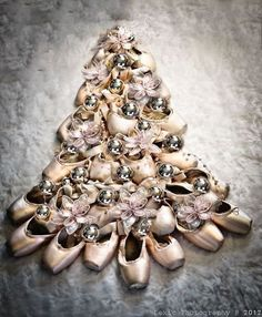 Christmas tree made from pointe shoes: