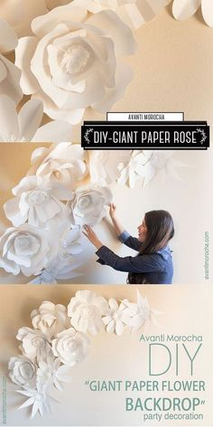 DIY Giant Paper Rose: These giant paper rose flowers are easy and fun to make! You can use them as the backdrop for wedding or event decor!